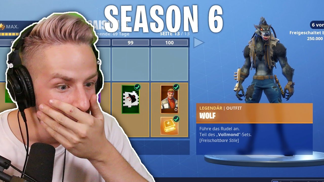 Fortnite Season 6 Battle Pass Lvl 100 Alle Neuen Skins Youtube