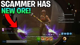 Loud Scammer Has *Diamond Ore* Rare ore Discovered Scammer Gets Scammed Fortnite Save The World