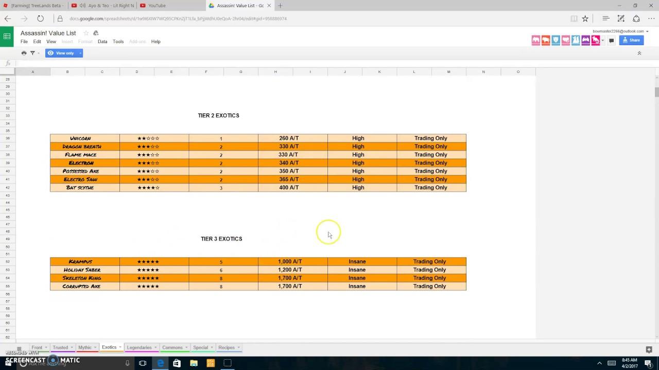 Roblox Assassin Value List 2020.Roblox Assassin Value List Google Docs Roblox Blog