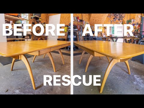 DIY MID CENTURY FURNITURE REFINISH (dining table rescue)