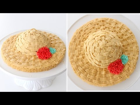 Sun Hat Cake Recipe | Basketweave + Flower Piping Techniques