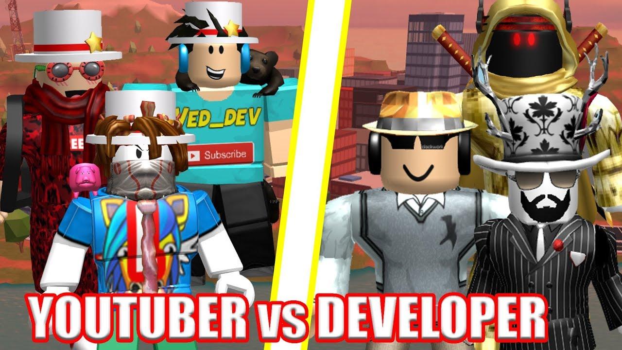 Ultimate Youtubers Vs Developers Roblox Jailbreak Youtube