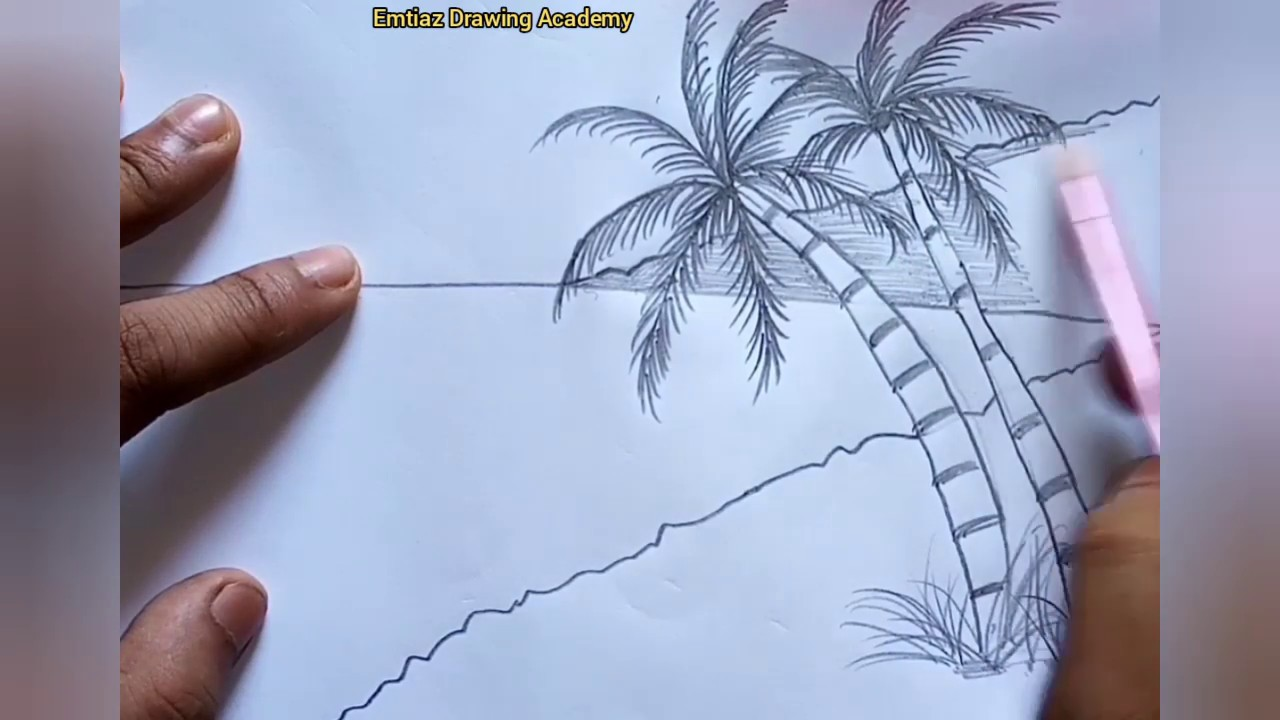 Easy way to draw a beach scenery / pencil sketch / drawing ...