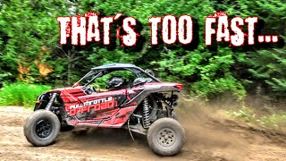 Racing through trails at 90 MPH in a CanAm Maverick X3 SxS