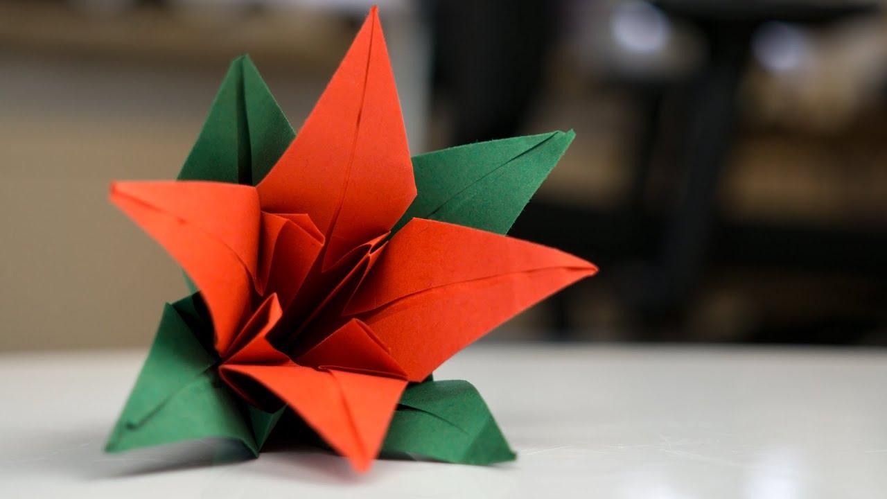 origami blume aus papier falten  faltanleitung