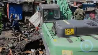 Garage workers at Grogon market in shock after county government demolish their stalls