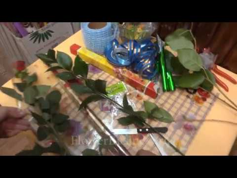 Букет Роза в целлофане с зеленью