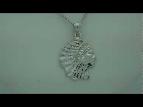 Rhodium-Plated 925 Sterling Silver Indian Head Pendants