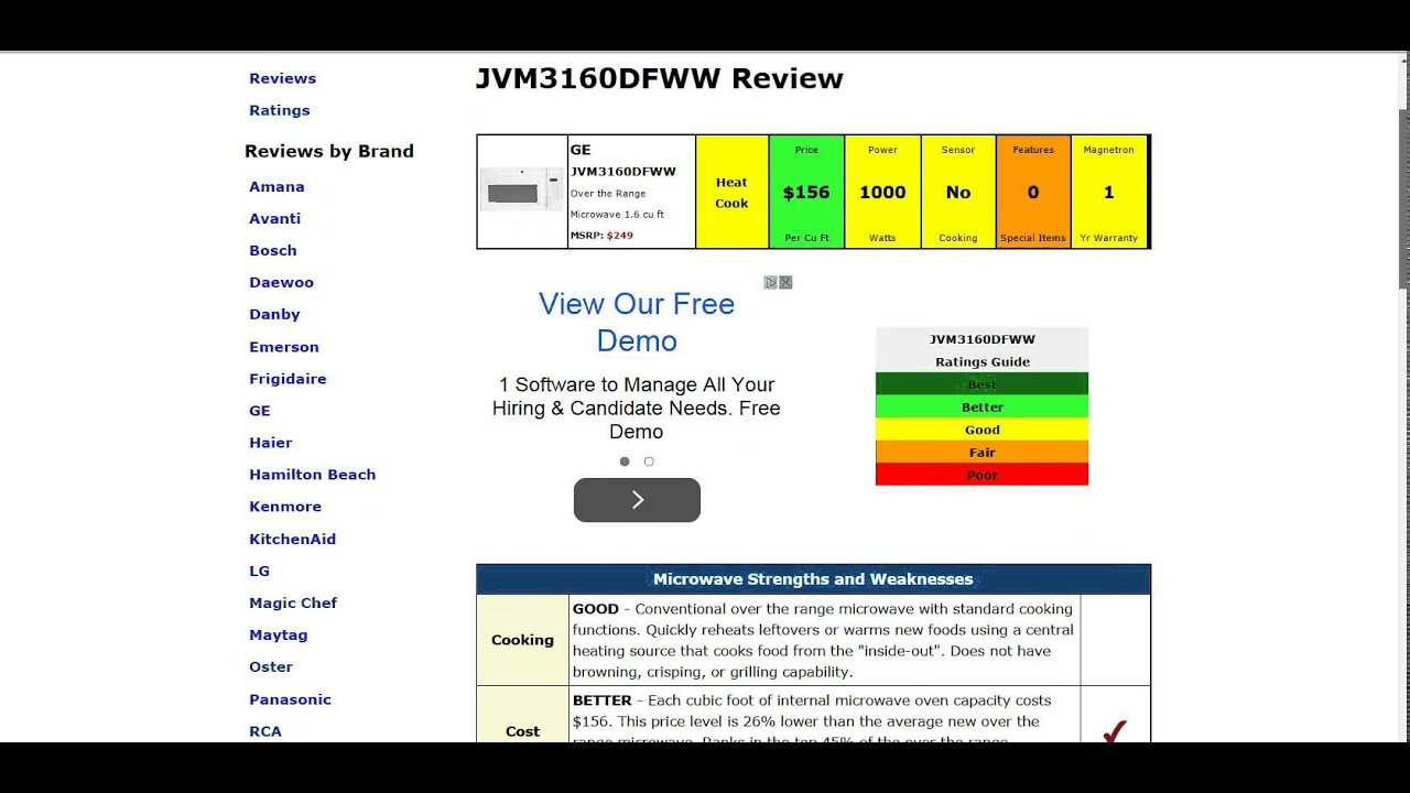 Ge Jvm3160dfww Microwave Review