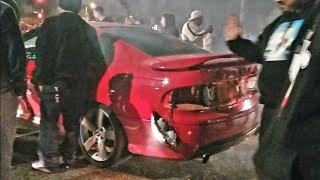 Pontiac Gto Crashes into crowd Car meet gone wrong