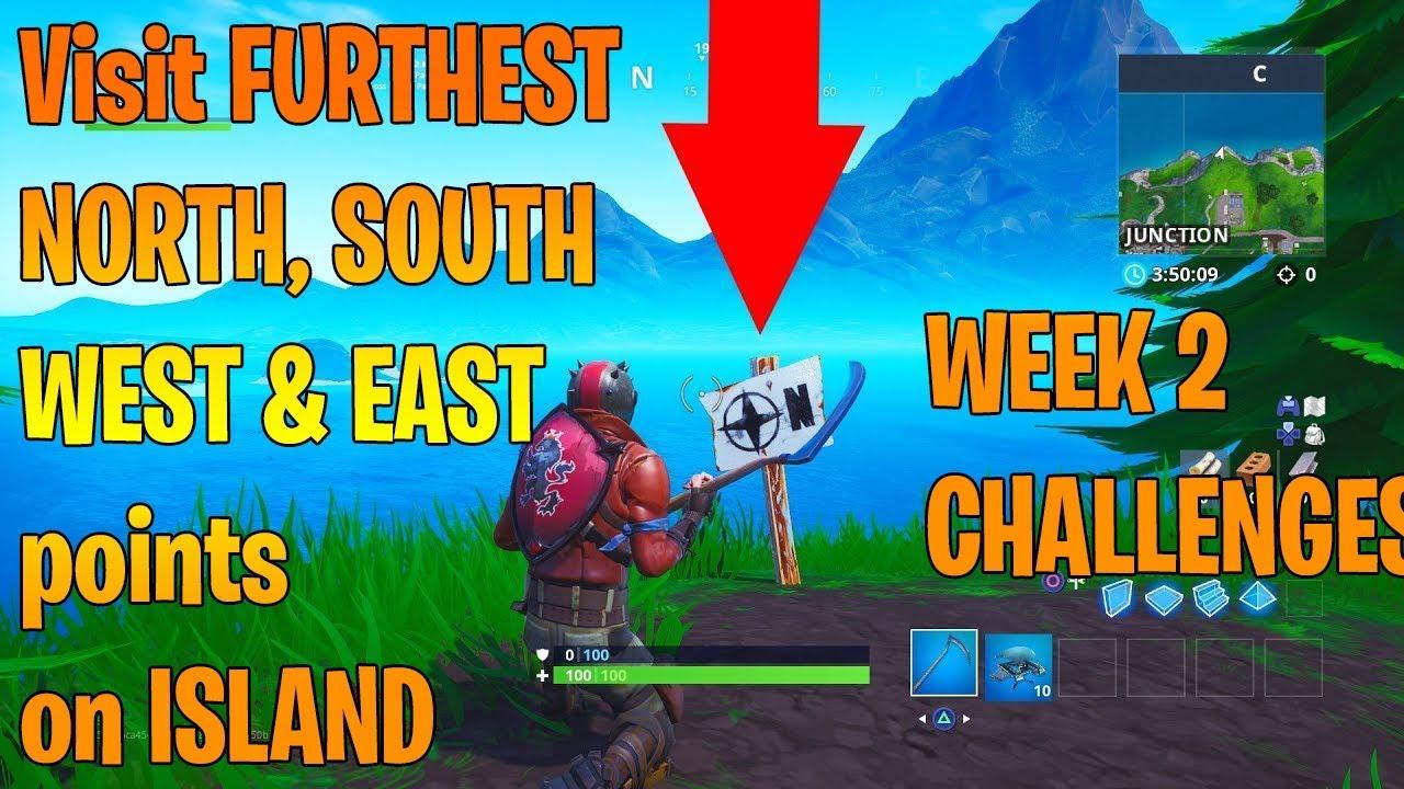 Fortnite Week 2 Challenges Season 8 North South East West Fortnite