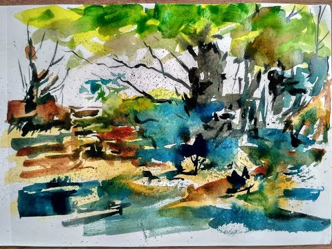 ABSTRACT LANDSCAPE PAINTING | WATERCOLOR PAINTING