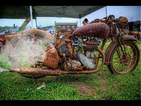 Old Motorcycle Starting