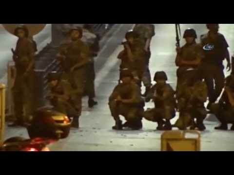 Soldiers blocking Istanbul's Bosporus Bridge shoot at protesters during Turkey's failed coup attempt