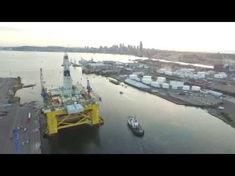 Drone Footage of Shell Oil Rig Polar Pioneer in Seattle Harbor