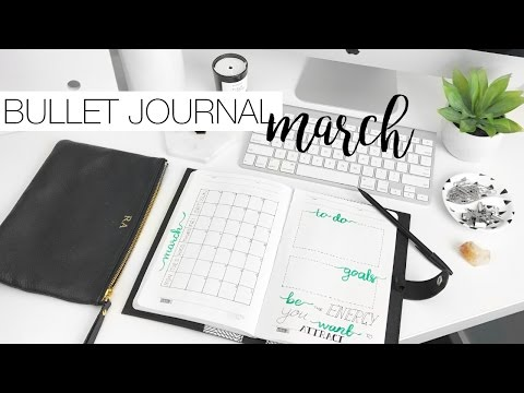 Bullet Journal Plan With Me - Organising March 2017 & Learning Calligraphy