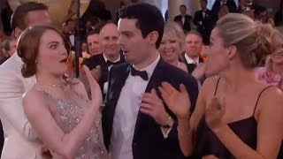 Emma Stone Gets Caught In AWKWARD 2017 Golden Globe Hug