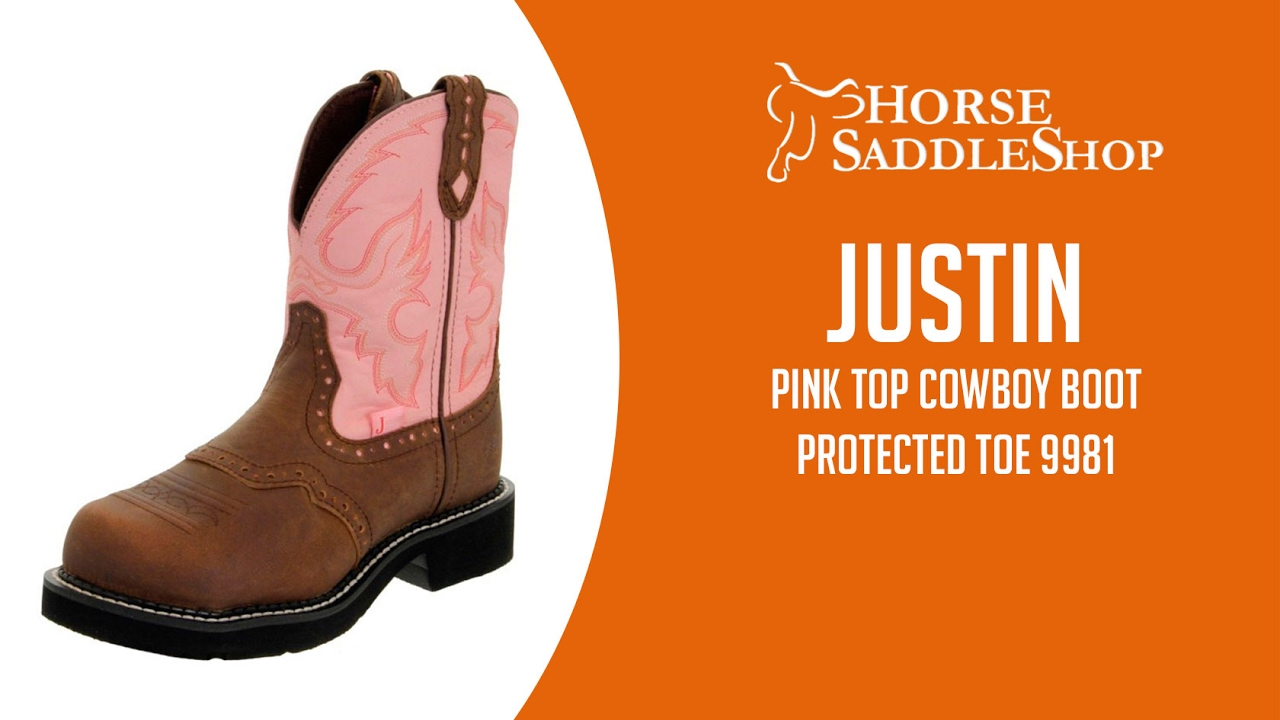 Justin Boot Womens Pink Top Cowboy Boot Protected Toe