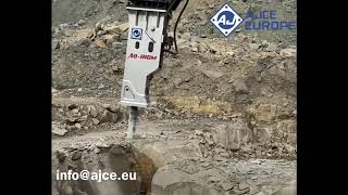 AJCE Europe AB810M (2000kg) Hydraulic Hammer Rockbreaker @work In Spain.