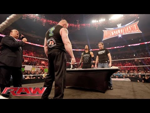 Thumbnail: Dean Ambrose confronts Brock Lesnar during their WWE Fastlane contract signing: Raw, Feb. 8, 2016
