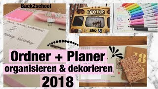 Back 2 school | ORDNER DEKORIEREN & PLANER ORGANISIEREN | DIY | 2018 | Anna Michelle