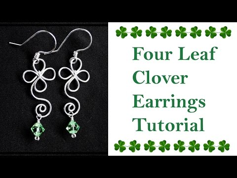 How to Make Shamrock Clover Leaf Earrings for St. Patricks - Wire Wrapped Jewelry Tutorial
