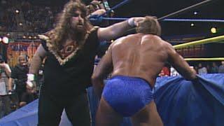 Cactus Jack brutalizes Paul Orndorff in a Falls Count Anywhere Match: WCW SuperBrawl III
