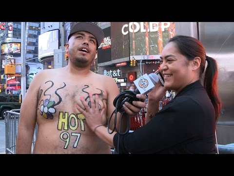 The World's Tallest Mexican Topless in Time Square for Hispanic Heritage Month