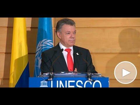 Presidente Juan Manuel Santos durante la conferencia de la Unesco en Francia - 23 de junio de 2017