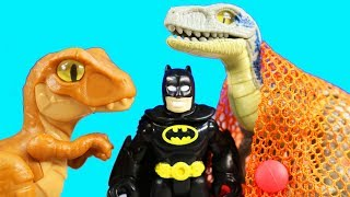 Imaginext Jurassic World Fallen Kingdom Dinosaur Hauler Gift Set Toy With Batman & Power Rangers
