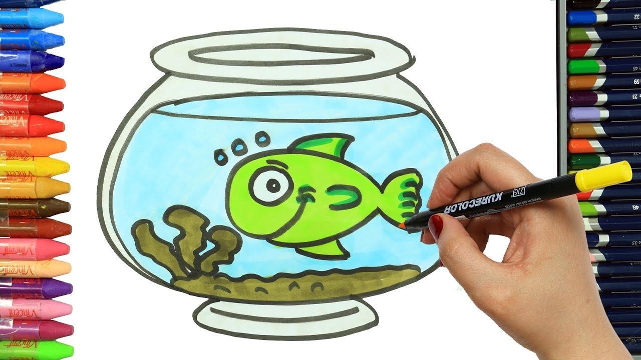 Wie zeichnet man Grüner Fisch | Ausmalen Kinder | Kindervideos ...