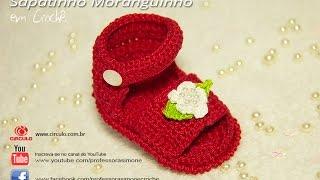 Sandalia de Crochê Moranguinho - Professora Simone