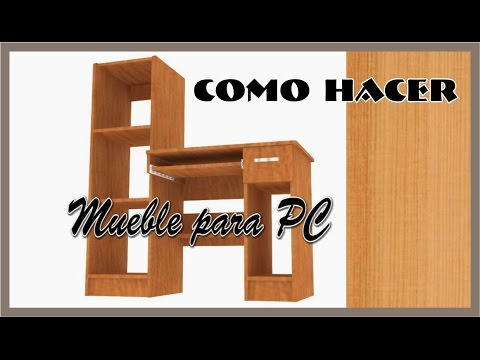 Mueble para pc de melamina plano dimensionado youtube for Plano escritorio melamina