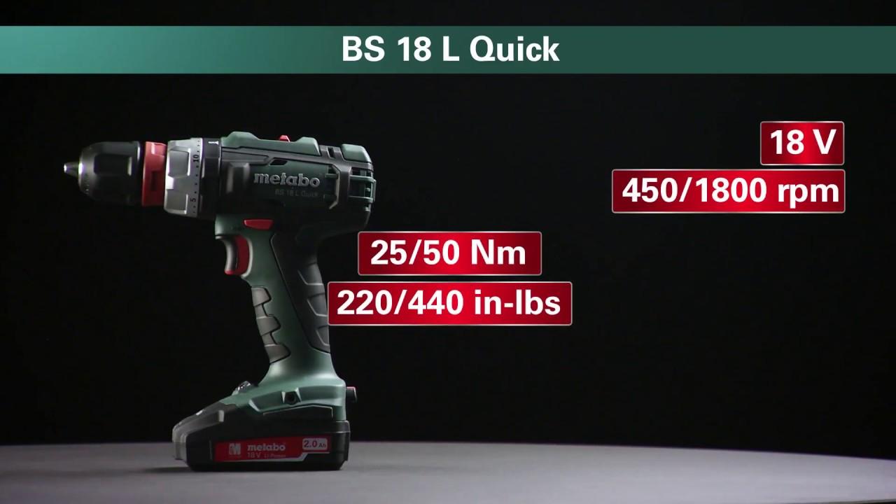 Metabo Akku-Bohrschrauber / Cordless Drill Screwdriver BS 18 L Quick