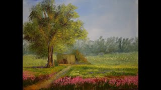 Landscape painting Indian village view (tree and gallery) .