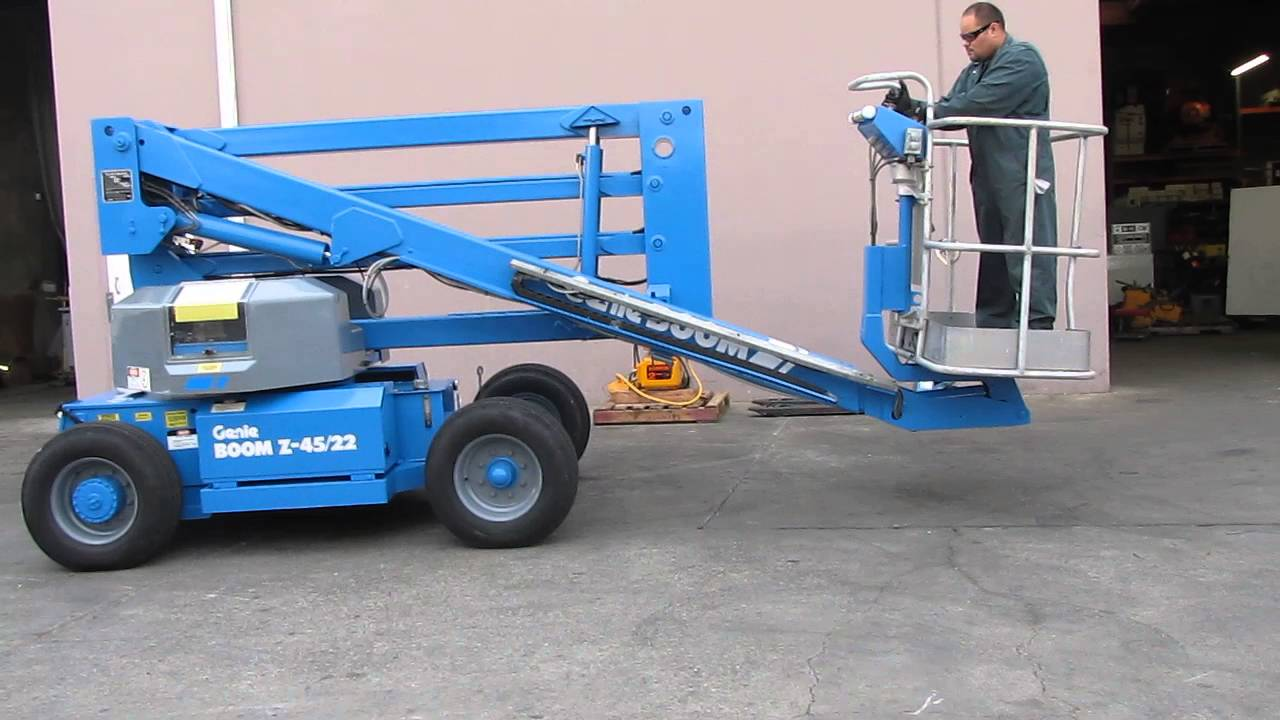 medium resolution of genie z 45 22 articulated boom lift aerial manlift electric 45 high youtube