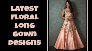 160 Exclusive Floor Length Floral Designed Gown Dress