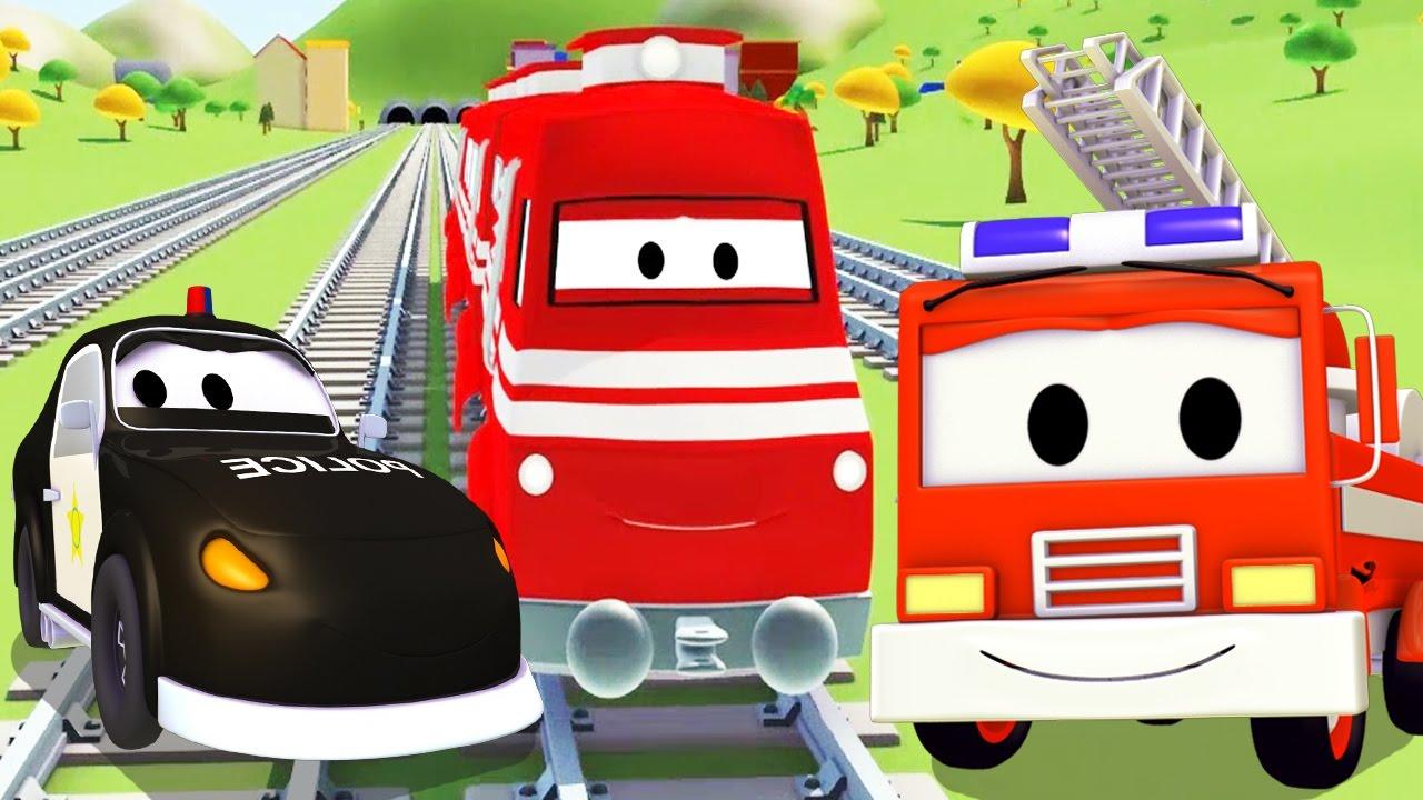 Đội xe tuần tra : xe cứu hỏa cùng với xe cảnh sát và Troy xe lửa ở thành phố xe | Phim hoạt