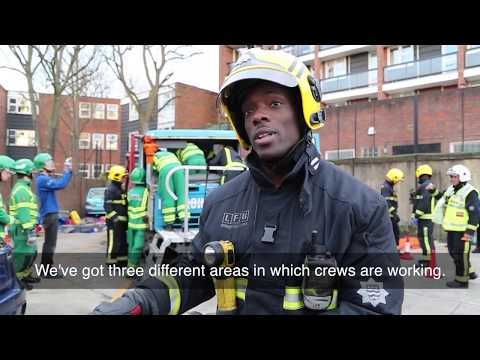 London Fire Brigade road traffic collision and extrication training exercise