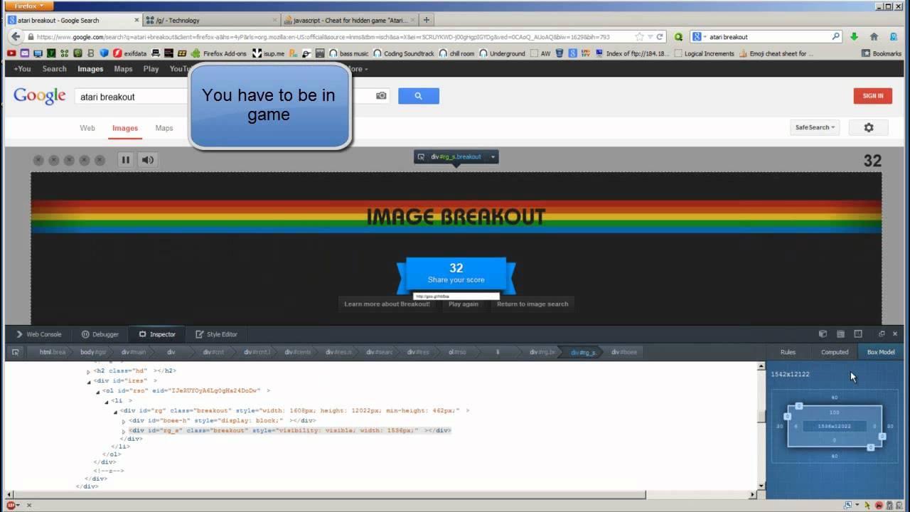 Google Atari Breakout HACK CHEAT tutorial Java script edit FIREFOX  YouTube