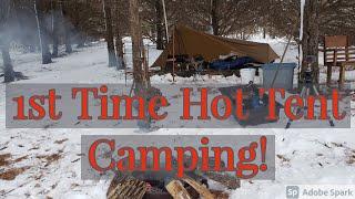 Iowa Winter Camping, Fiŗst time in a Hot Tent! #hottent #iowa #wintercamp