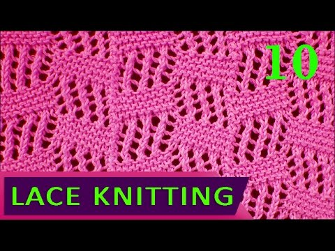 Tilted Block Lace Knitting Stitch #10 - YouTube