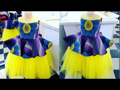 Download How to make a ball baby dress with Ankara fabric and net (Illusion Neckline)