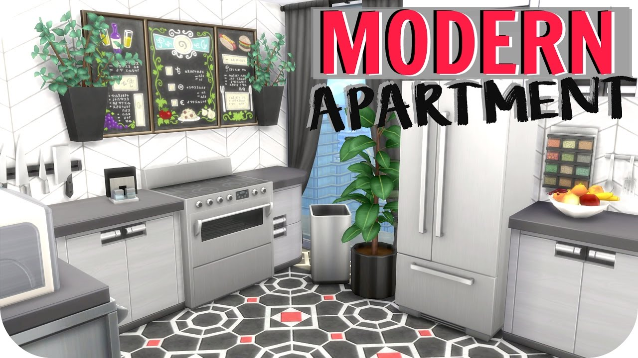 the sims 4 // modern black & red apartment | speed build (no cc
