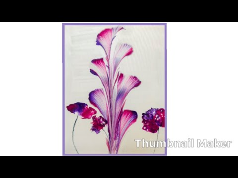 (117) How to String Pull and Blow Acrylic Pouring, Flowers