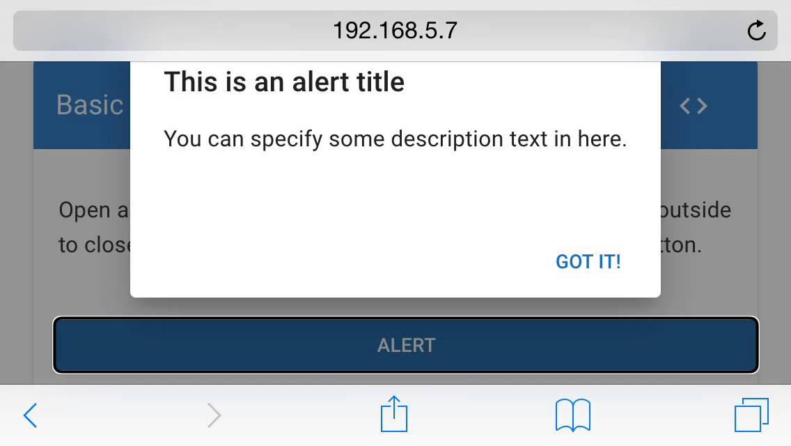 Before: Mobile tab order swipe of the Angular Material Dialog