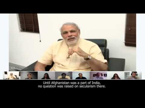 Narendra Modi answers a question on meaning of secularism - Google+ Hangout (with subtitles)