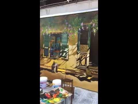 Vẽ tranh tường cửa cũ, hoa giấy cho quán cafe, trà chanh tại Tây Hồ, Hà Nội – Wall painting T–Art Ha