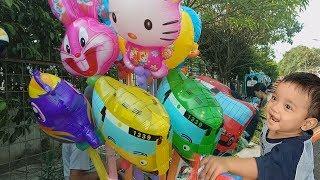 balon Mainan Anak karakter bus tayo upin ipin doraemon dan masha 😍😍😍