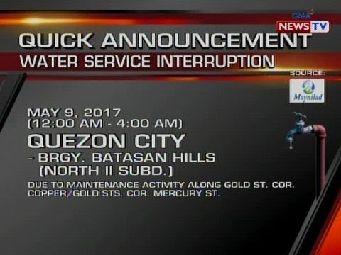 QRT: Water service interruption ng Maynilad